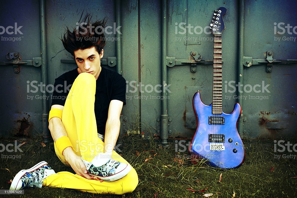 Boy And His Guitar stock photo