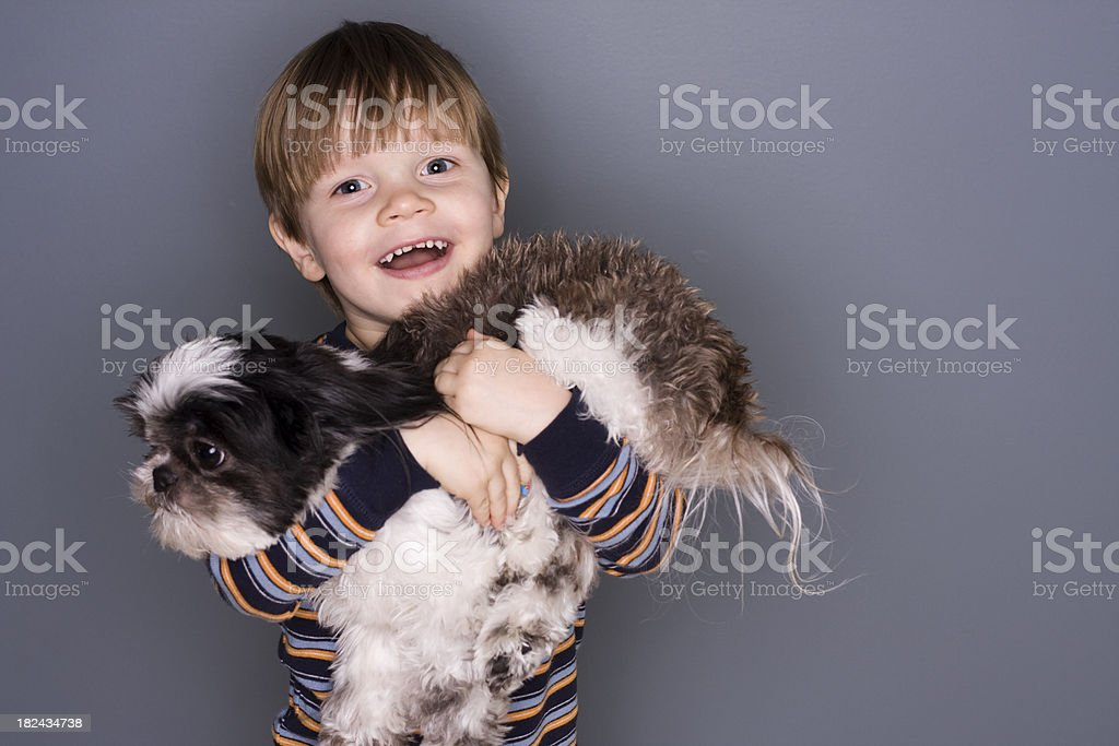 Boy and His Puppy stock photo