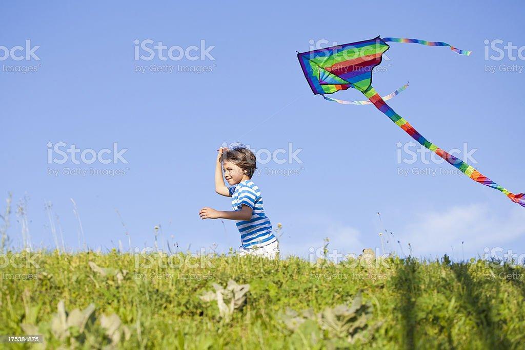 Boy and kite royalty-free stock photo