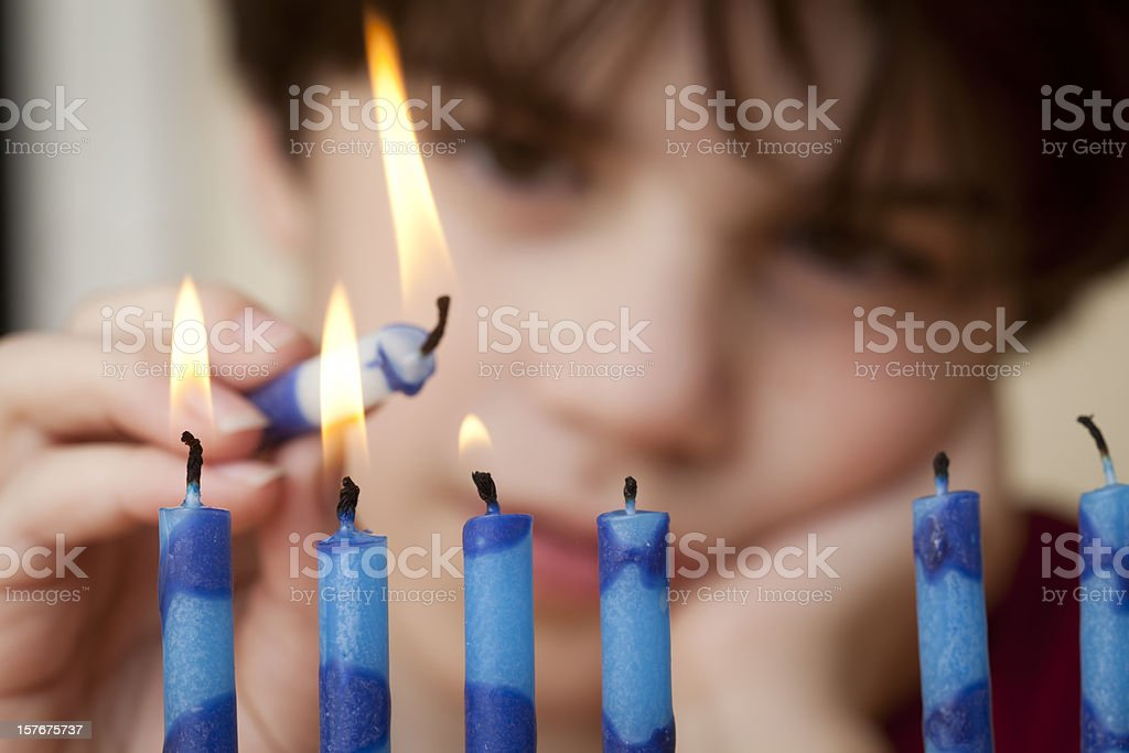 Boy and Menorah royalty-free stock photo