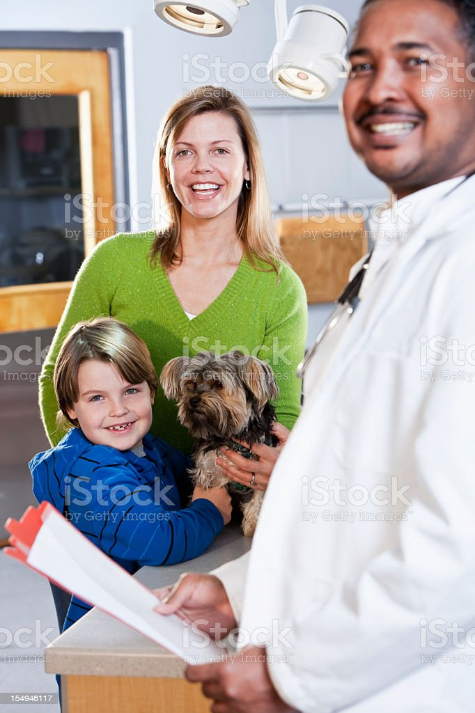 Boy and mother taking pet dog to vet stock photo