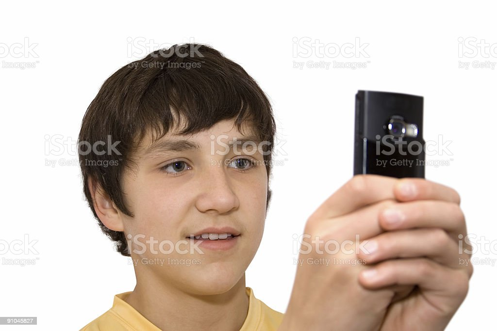 boy and phone royalty-free stock photo