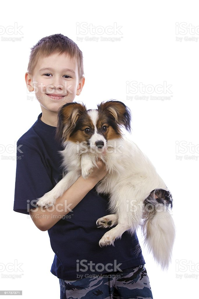 Boy and small dog royalty-free stock photo