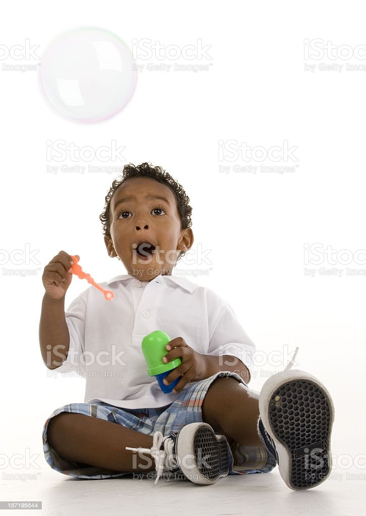 Boy and the bubble royalty-free stock photo