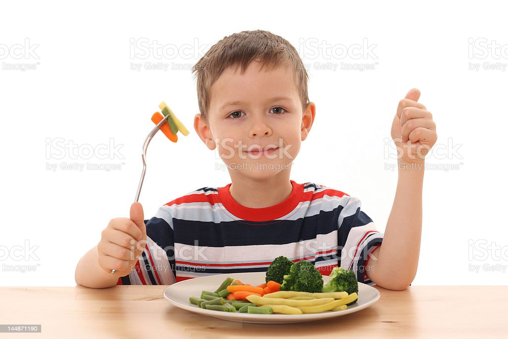 boy and vegetables royalty-free stock photo