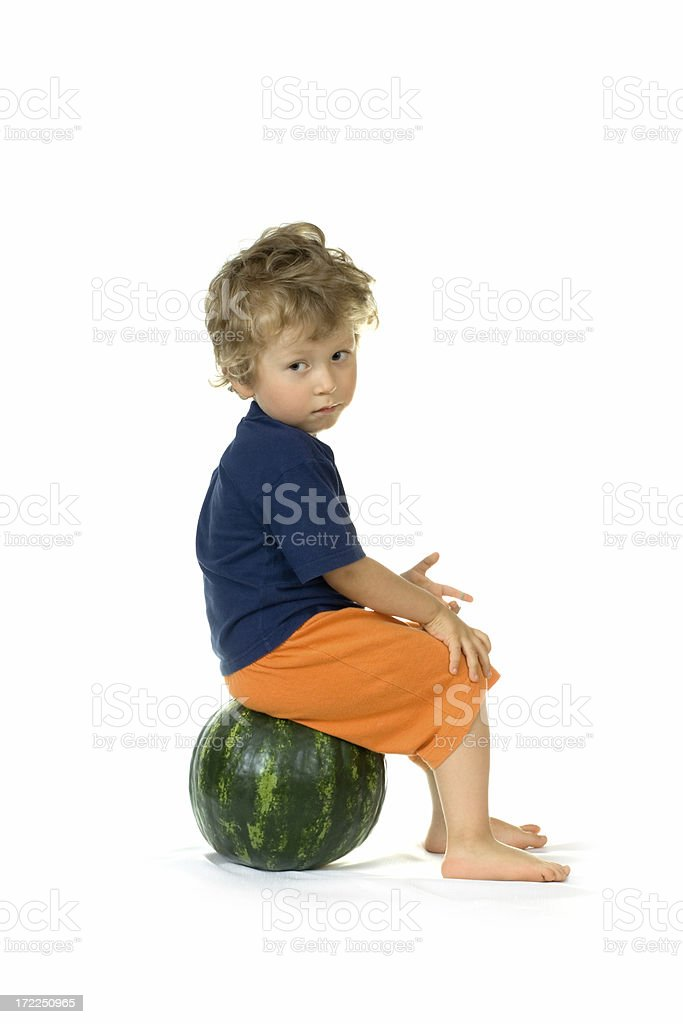 boy and watermelon royalty-free stock photo