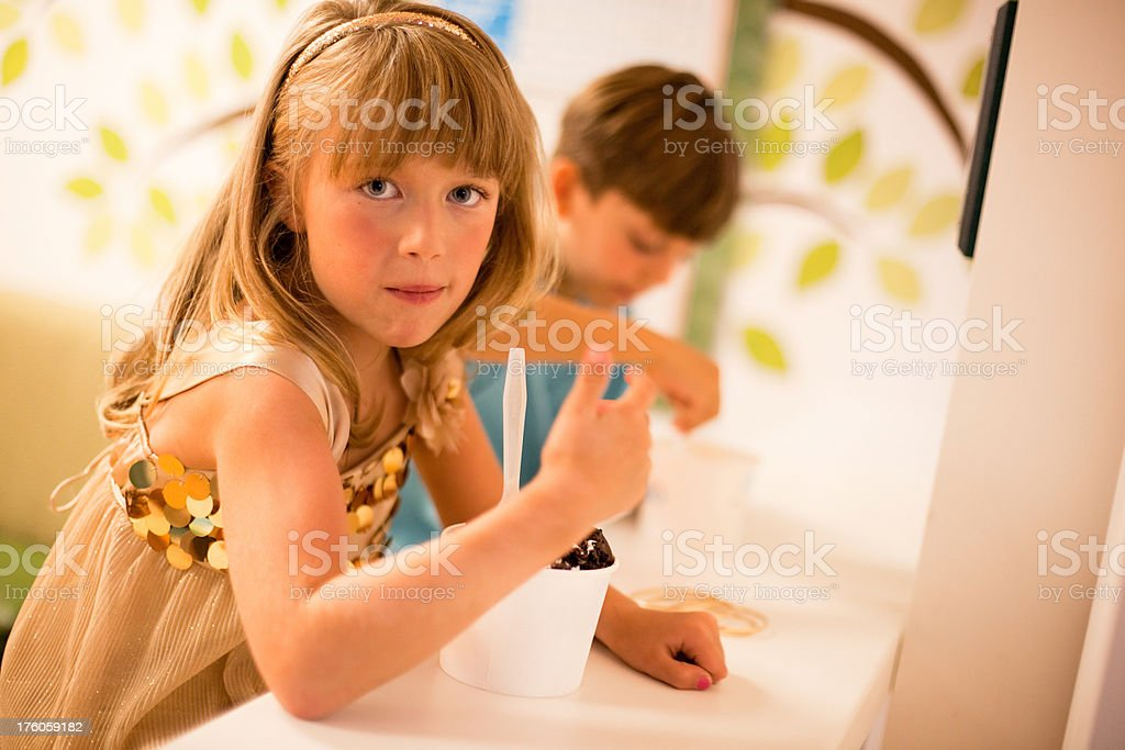 Boy andd Girl and Ice Cream stock photo