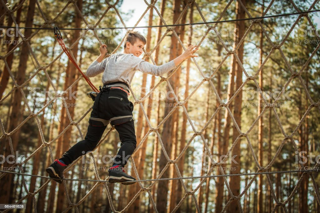 Boy at Adrenaline Park stock photo