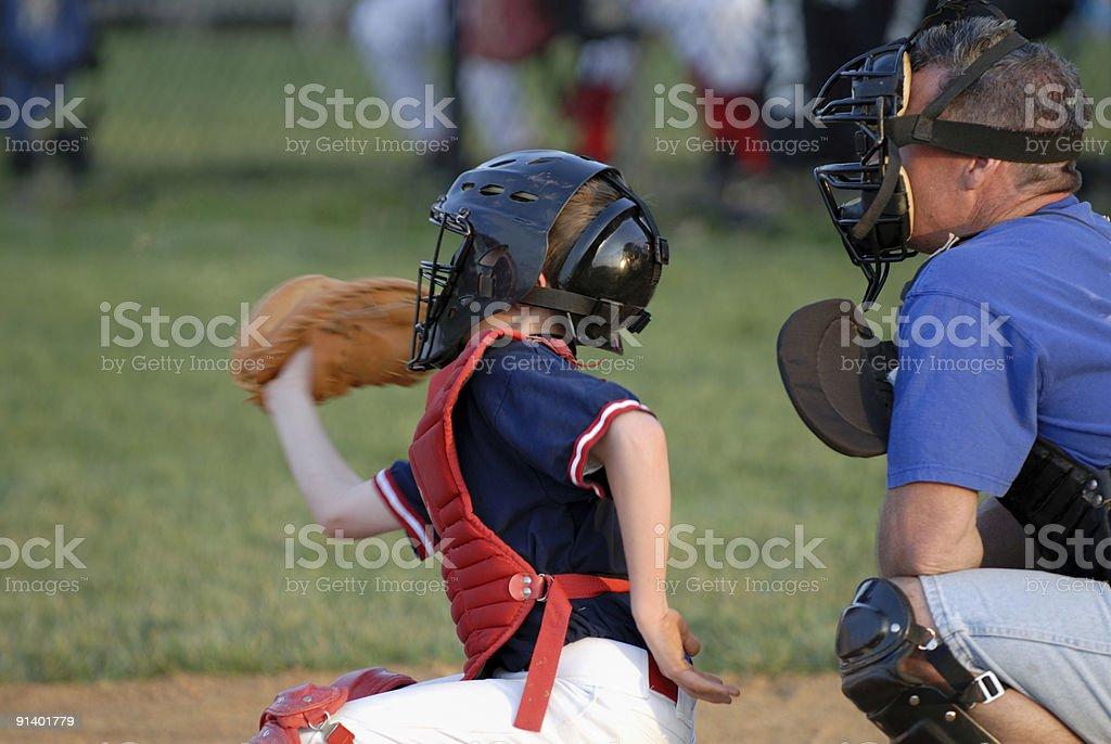 Boy at Baseball Game stock photo