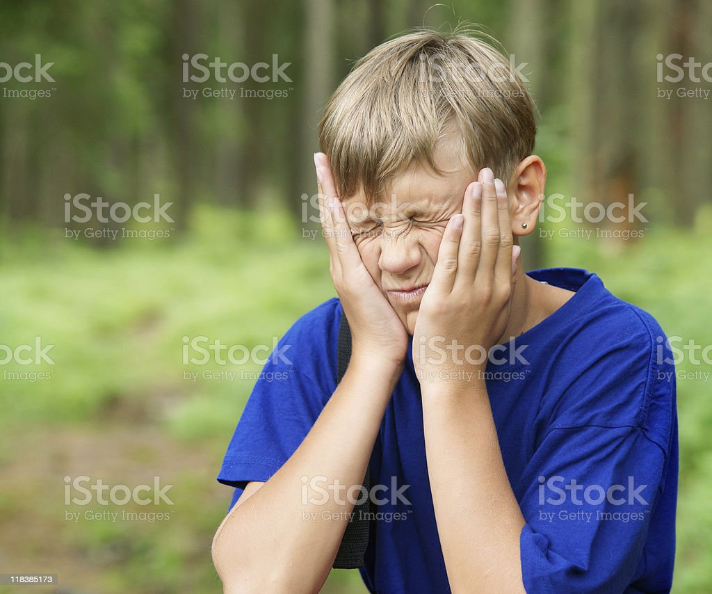 Boy at forest royalty-free stock photo