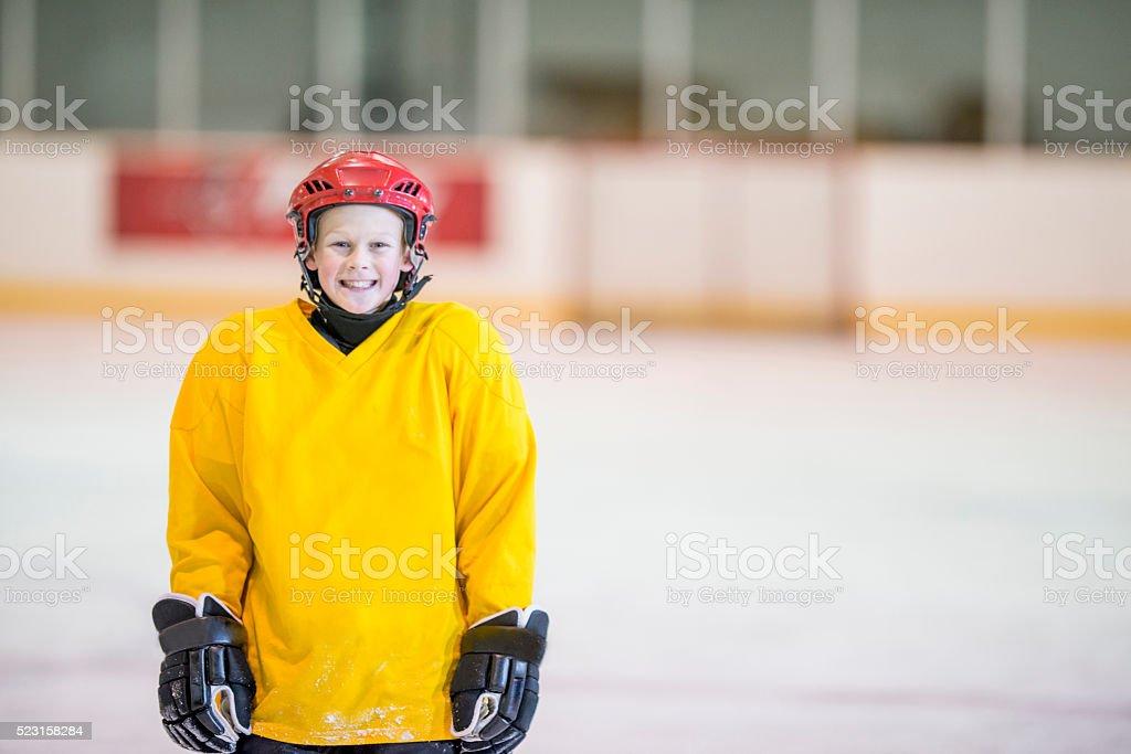 Boy at Hockey Practice stock photo