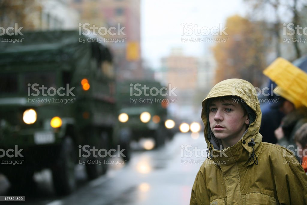 Boy at Remembrance Day Parade stock photo