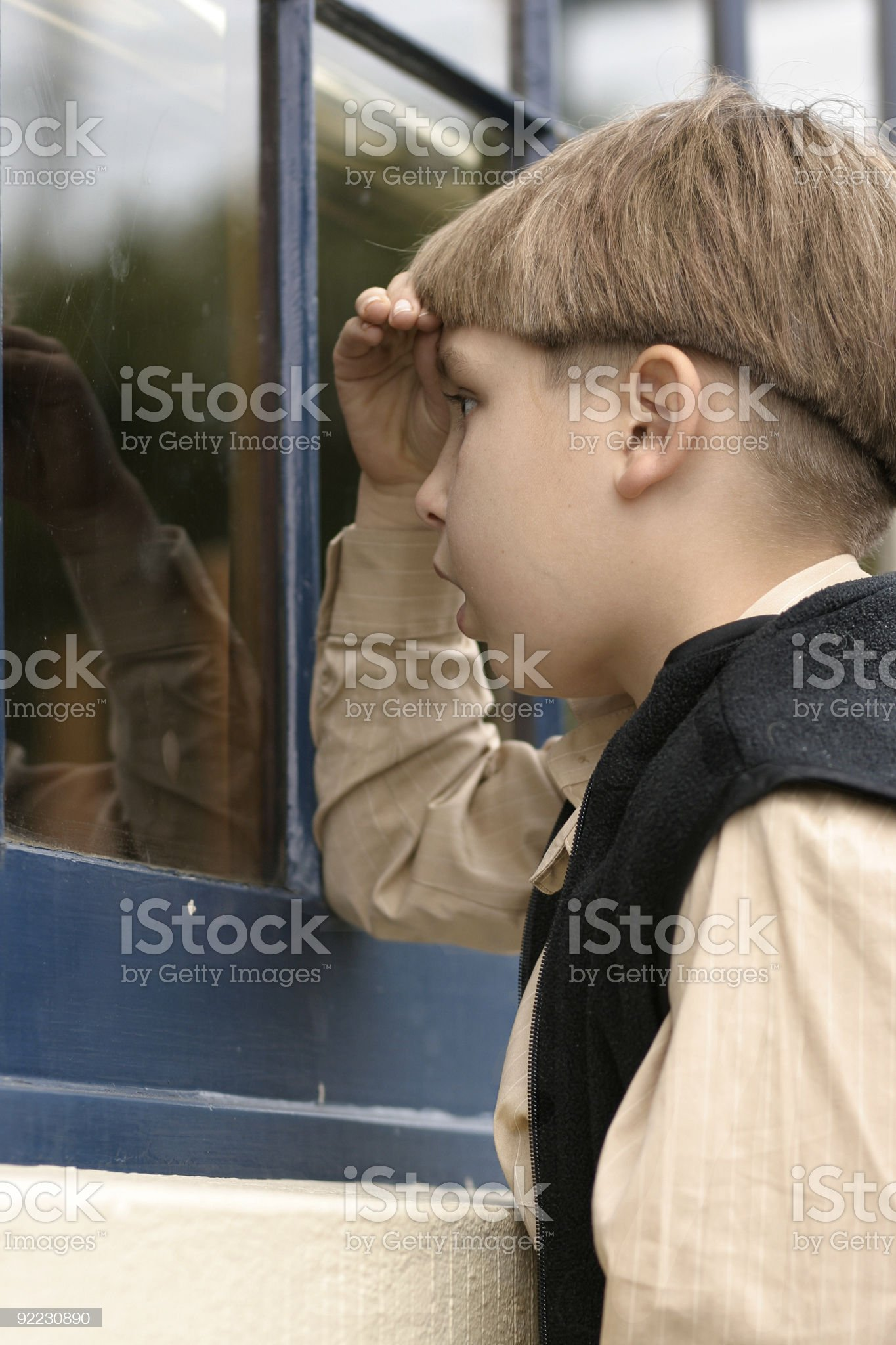 Boy at Storefront royalty-free stock photo