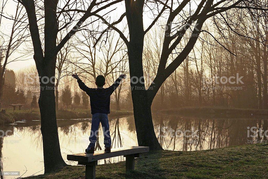 Boy At Sunrise royalty-free stock photo
