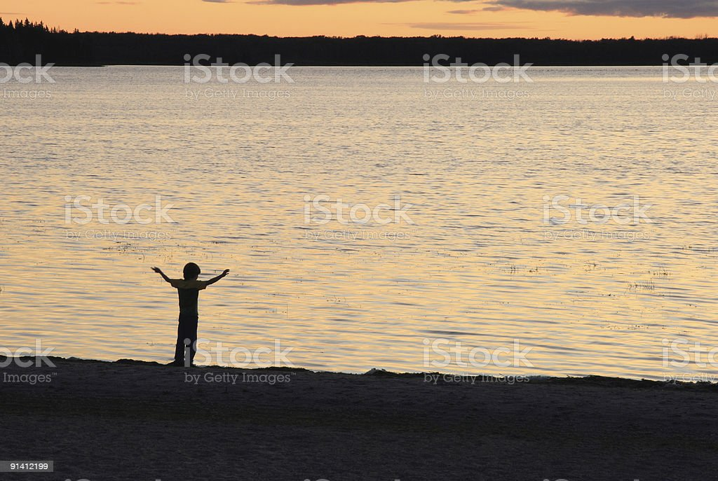 Boy at Sunset royalty-free stock photo