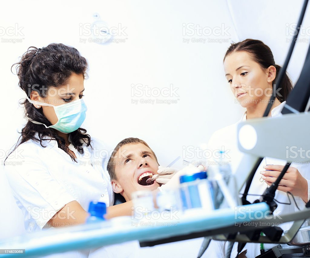 Boy at the dentist royalty-free stock photo