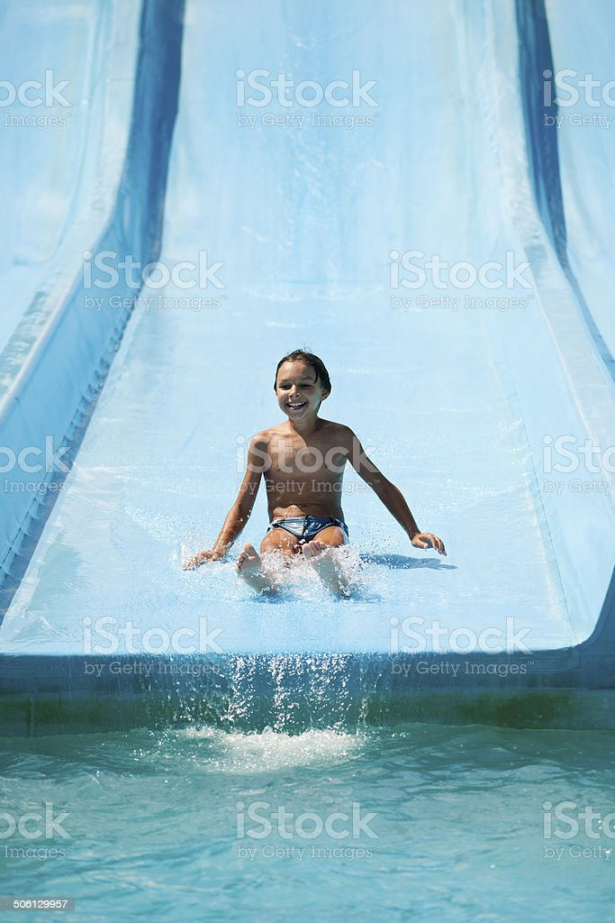 Boy at waterpark stock photo