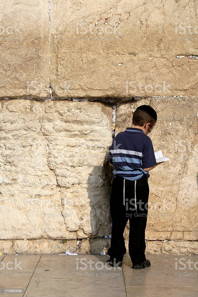 Boy at Western Wall royalty-free stock photo