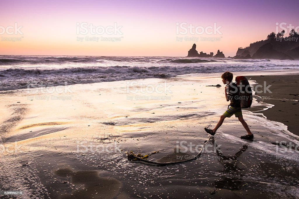 Boy backpacking on the Olympic coast stock photo