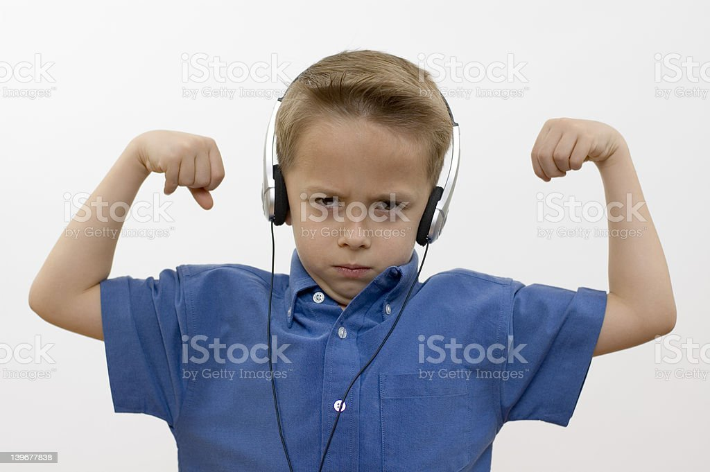 Boy / biceps / white royalty-free stock photo
