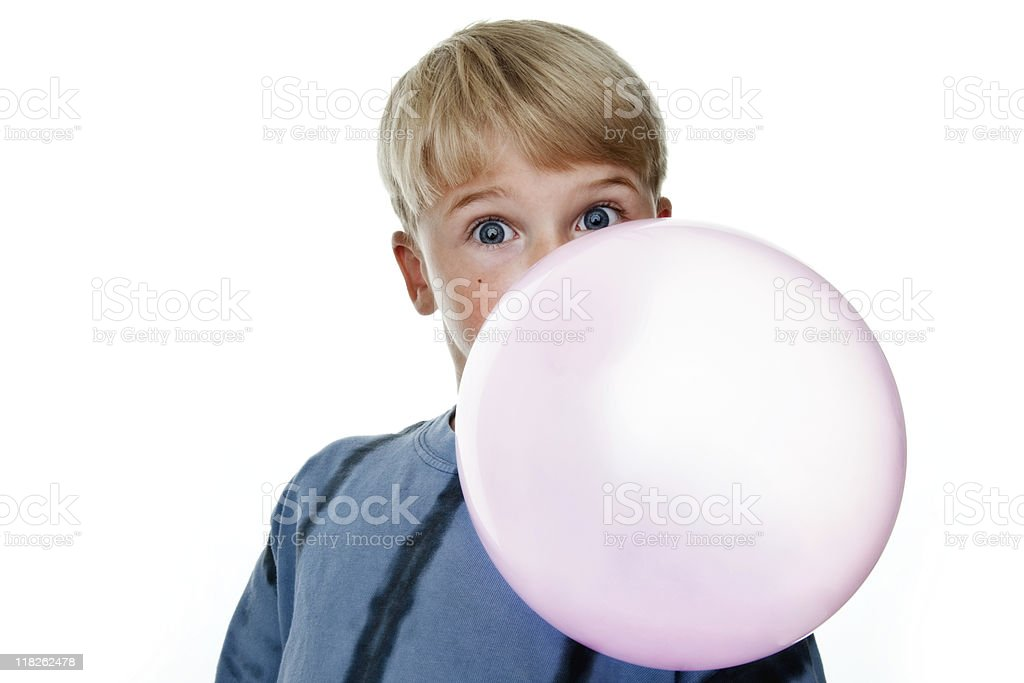 Boy blowing large bubble royalty-free stock photo