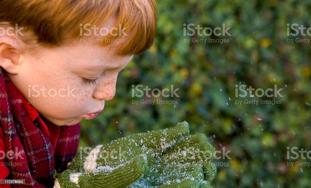 Boy Blowing Snow! royalty-free stock photo