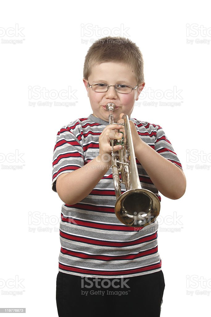 Boy Blowing Trumpet royalty-free stock photo