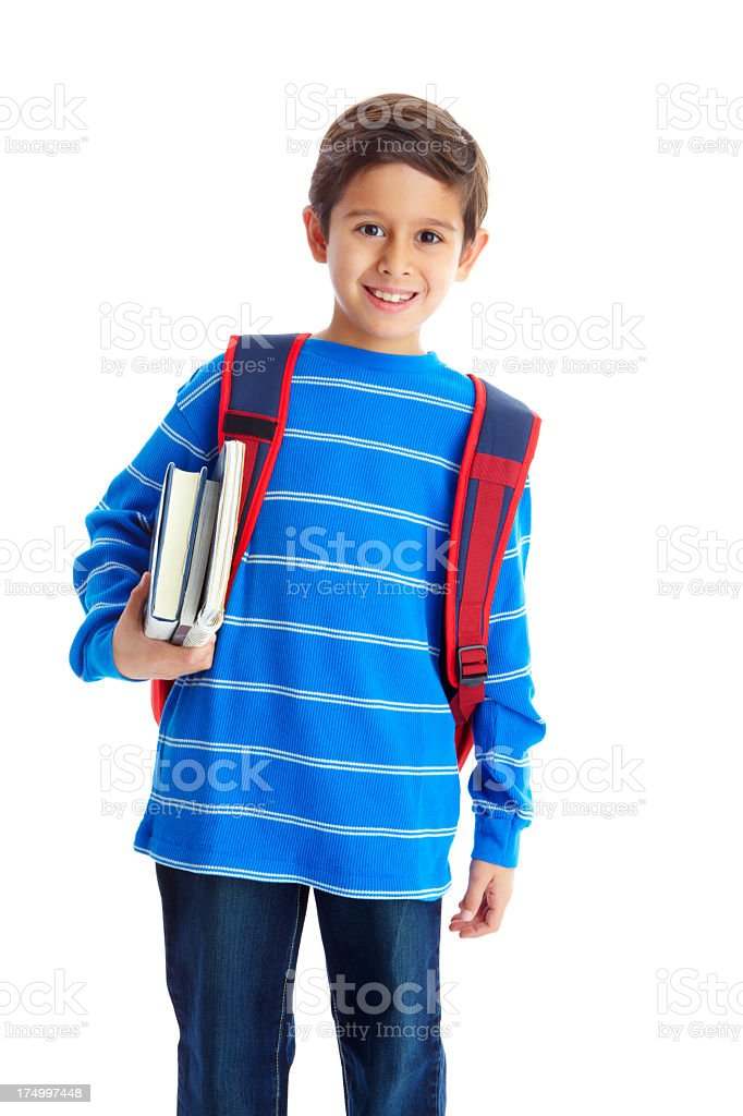 A boy carrying books under his arm is ready for school  royalty-free stock photo