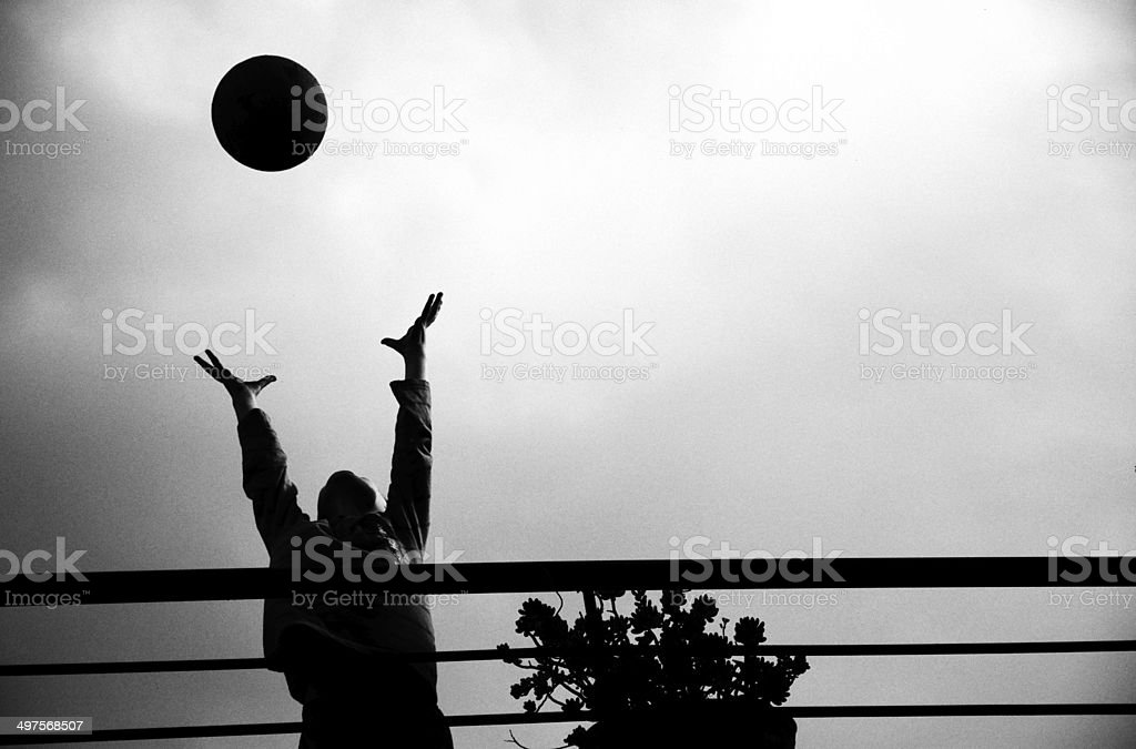 Boy catching ball. stock photo