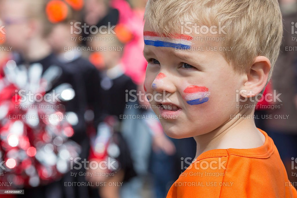 Boy celebrating Dutch queen's day stock photo