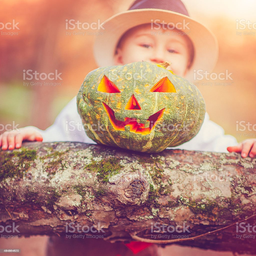 Boy celebrating Halloween stock photo