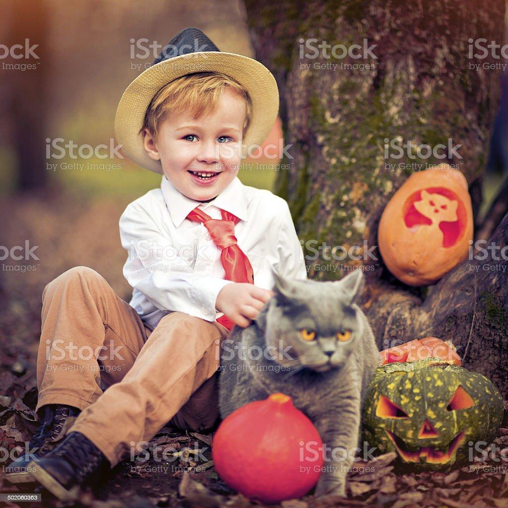 Boy celebrating Halloween royalty-free stock photo