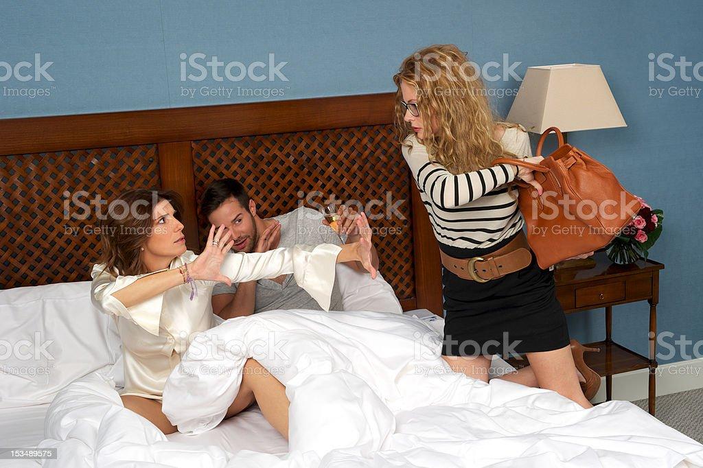 Boy cheats on his woman royalty-free stock photo