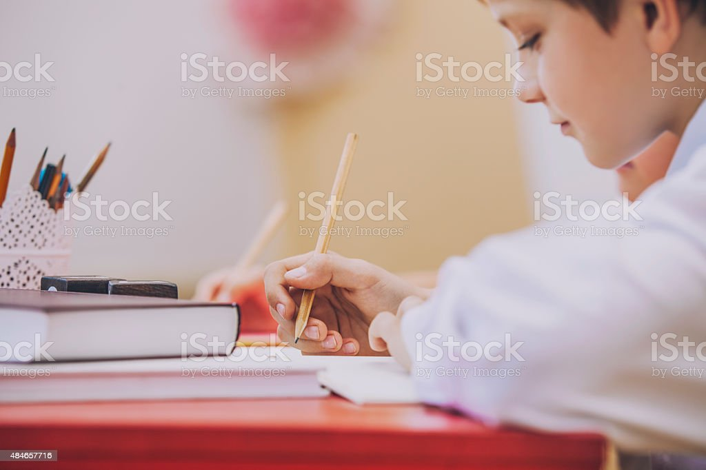 Boy, children in the school has a happy, curious, smart stock photo