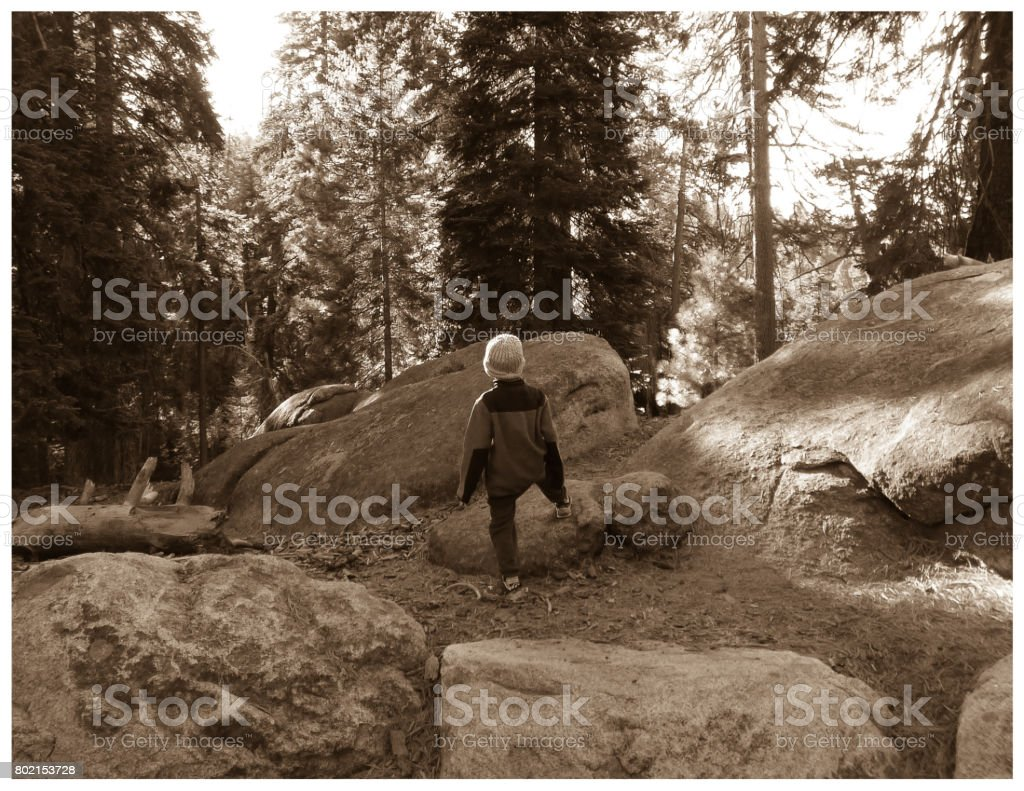 Boy Climbing over Boulder stock photo