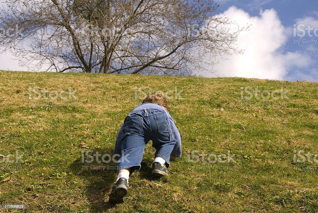 Boy Climbing to the Top! stock photo