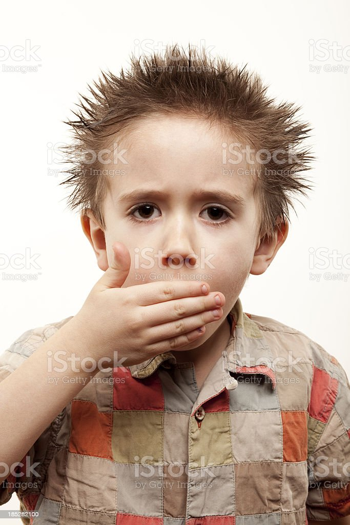 boy coughs XXXL royalty-free stock photo
