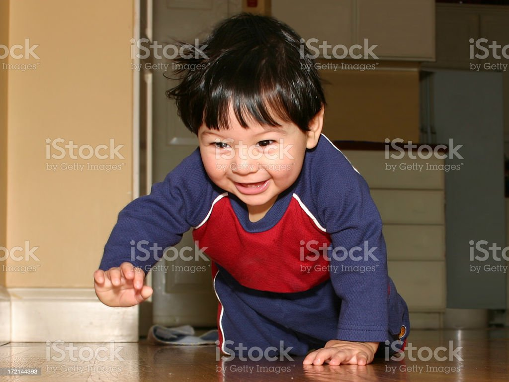 Boy Crawling stock photo