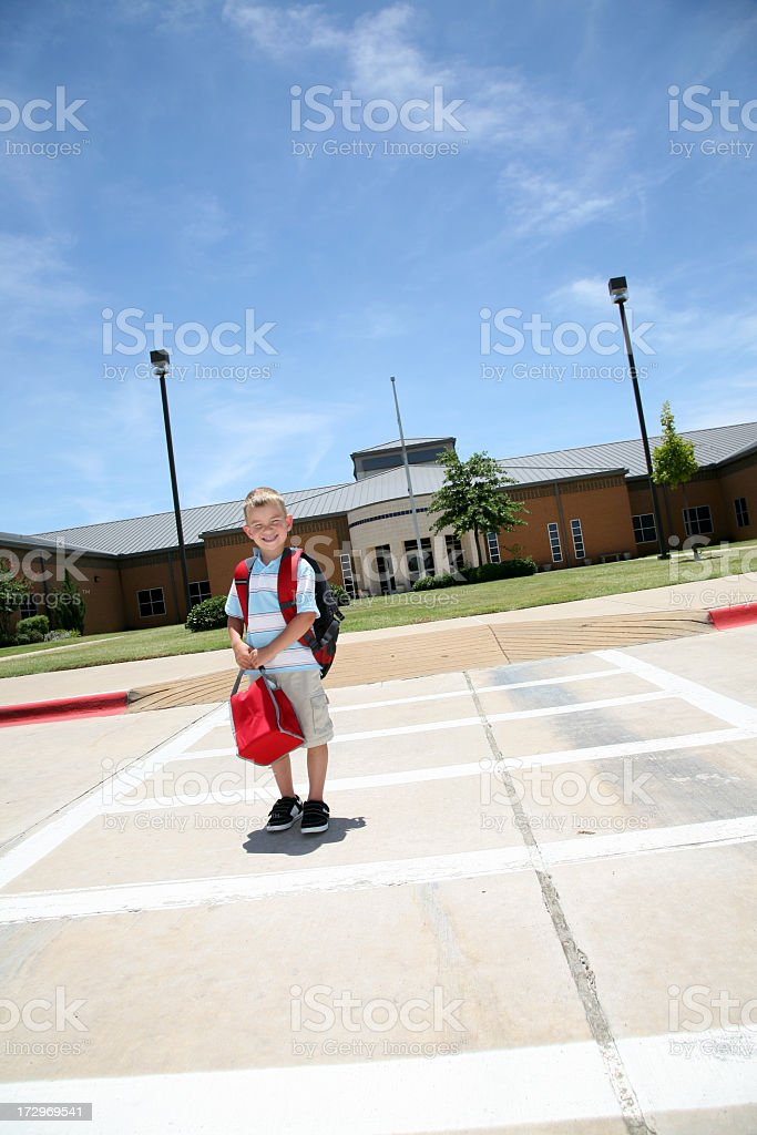 Boy Crossing the Street royalty-free stock photo