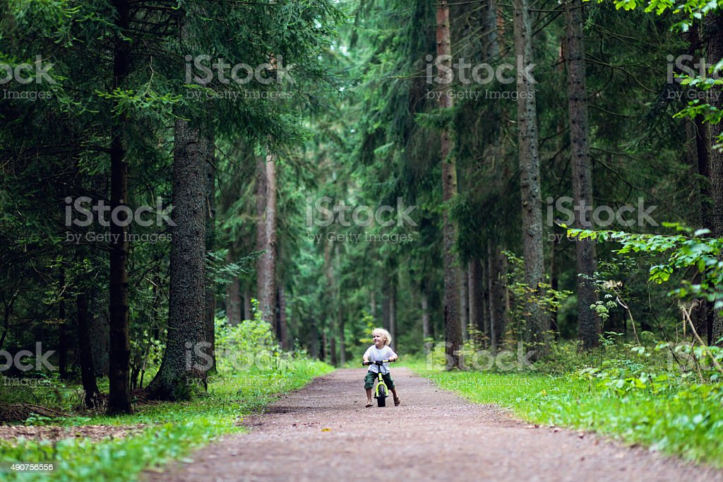 Boy cycling in the forest on the balance bike stock photo