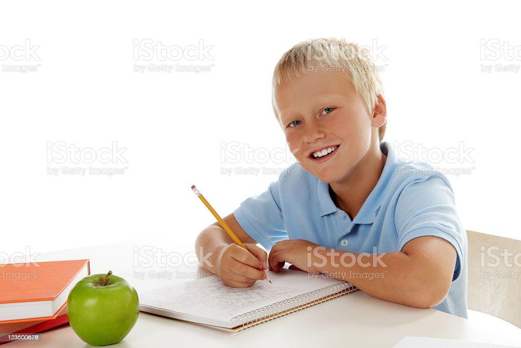 Boy Doing his Homework stock photo
