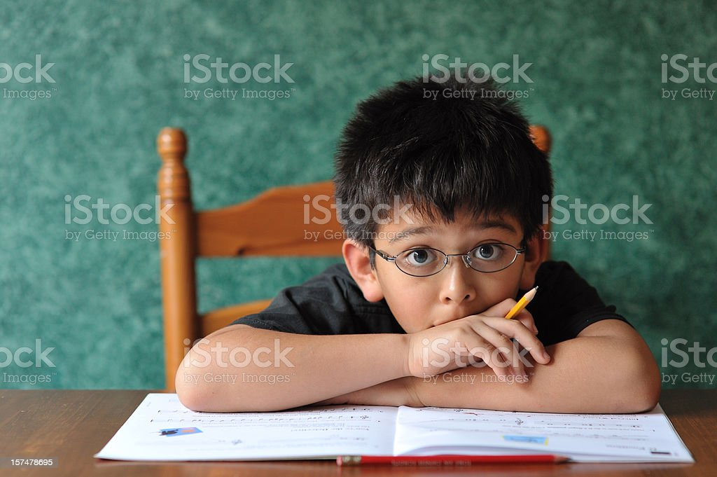Boy doing his homework royalty-free stock photo