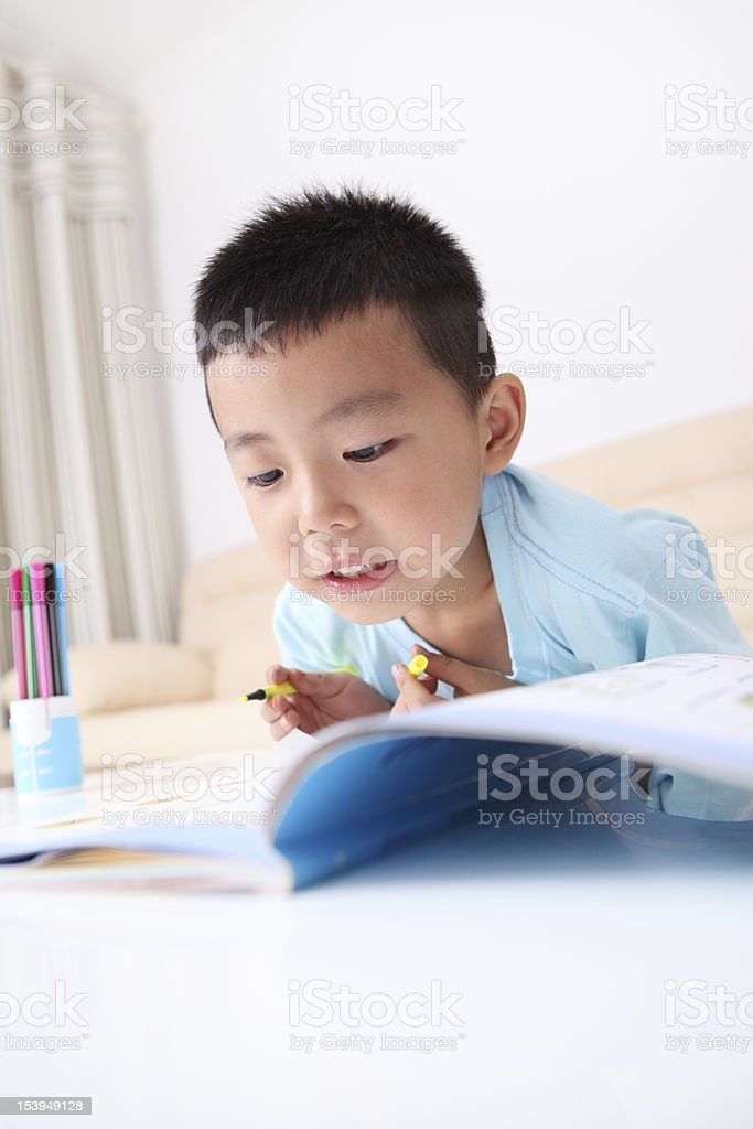 Boy doing homework royalty-free stock photo