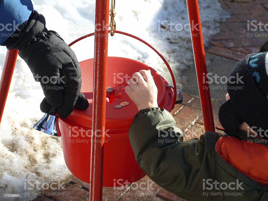 Boy Donating stock photo