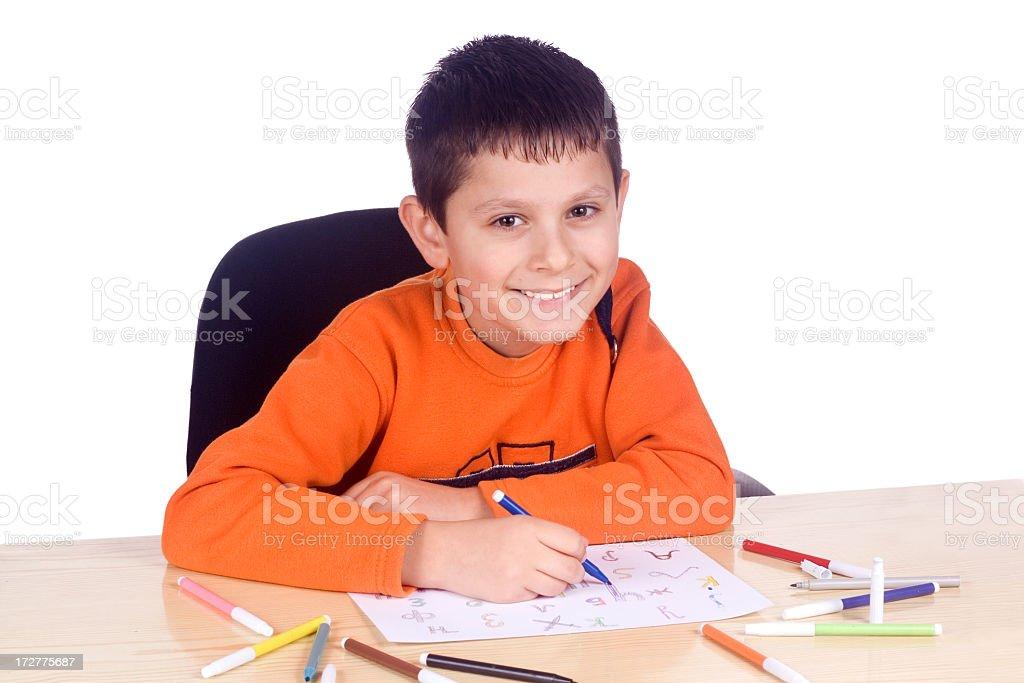 Boy drawing royalty-free stock photo