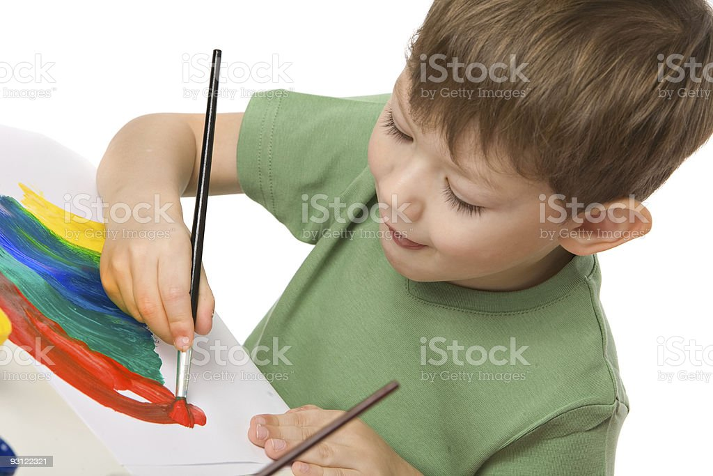boy draws with paints royalty-free stock photo