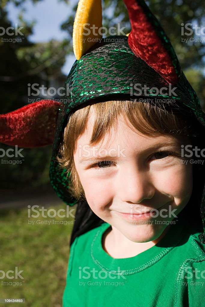 Boy dressed as jester stock photo