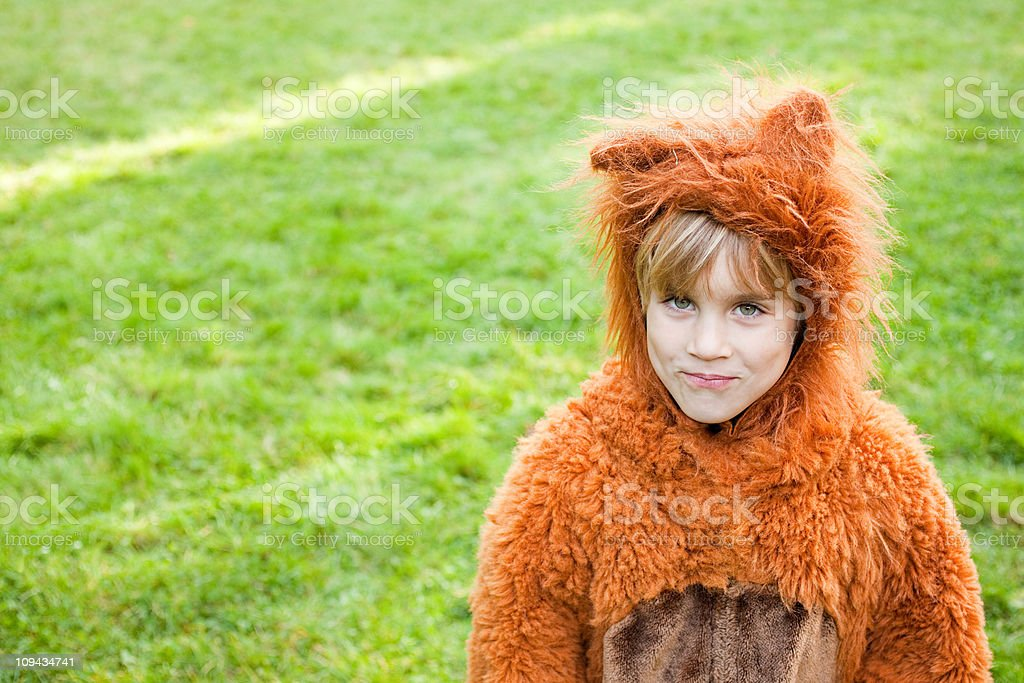 Boy dressed up as bear stock photo