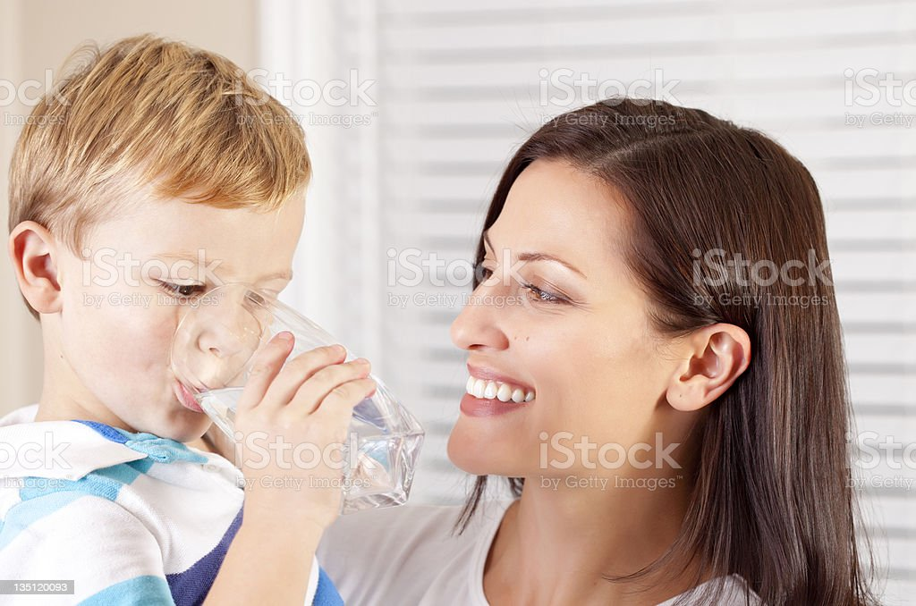 Boy drinking water royalty-free stock photo