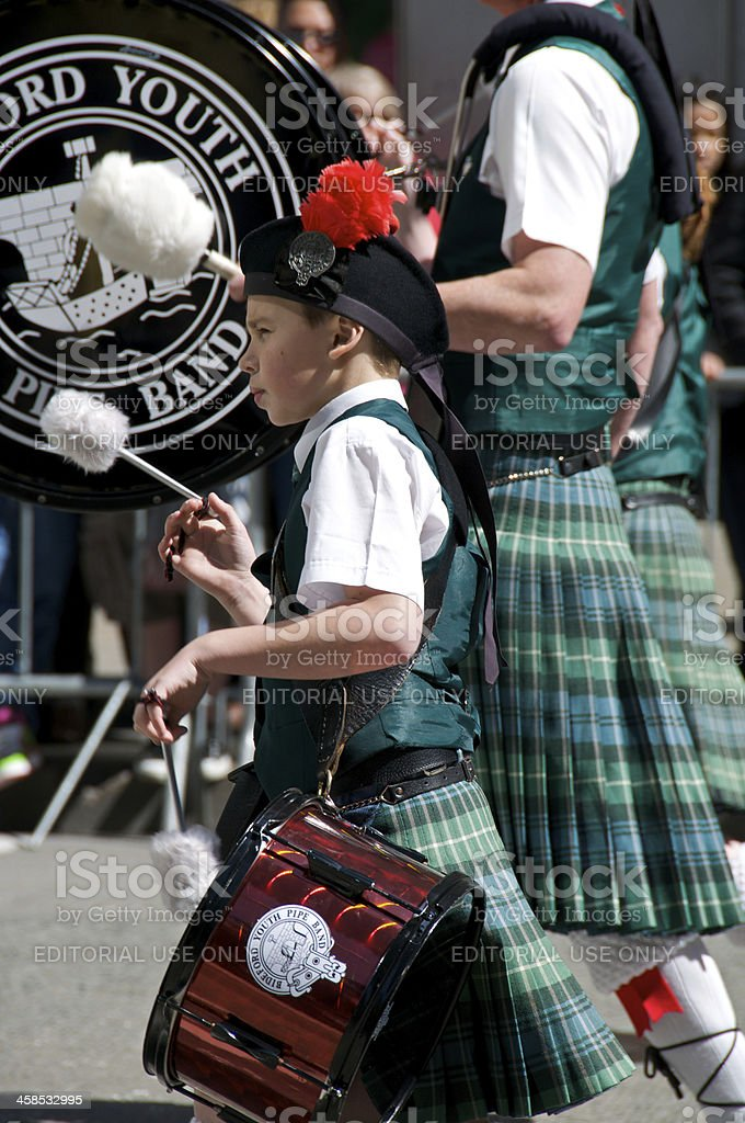 Boy Drummer in Scottish Tartan Day Parade, New York City stock photo